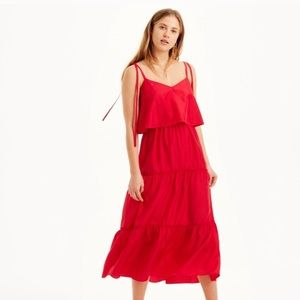 "Club Monaco ""Quenby"" Red Tiered Silk Dress"